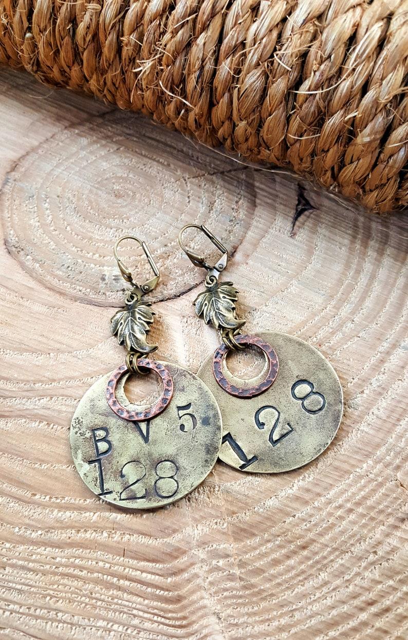 Industrial Style Earrings  FALL JEWELRY   Repurposed Brass image 0