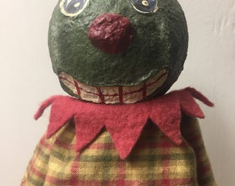 Handmade ooak Halloween watermelon art doll artist jack o lantern anthropomorphic vegetable fruit paper mache artisan