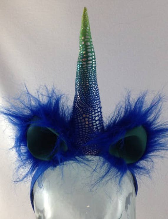 Blue and green unicorn headband with shiny horn shiny  0e57e245f0a