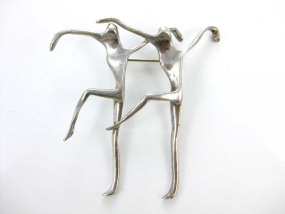 Large Vintage Sterling Silver Ballerina Brooch Pin