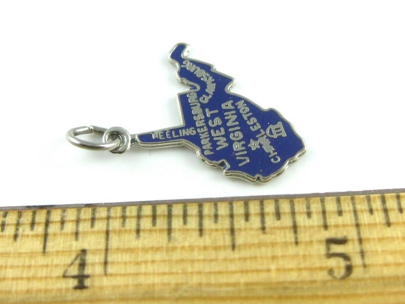Vintage Sterling Silver Blue Enamel Virginia State Cut Out Map Charm
