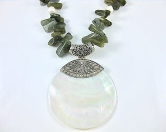 Vintage Large Sterling Silver Mother of Pearl and Labradorite with Pearls 20 Inch Necklace