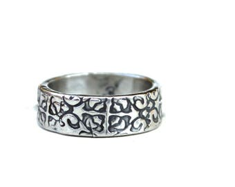 wide sterling silver wedding band . engraved bohemian Tudor rose ring by peaces of indigo . ready to ship size 6 7 8 9 10