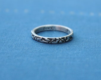 thin vine wedding band ring . recycled silver leaf wedding bands . engraved love ring . romantic fairy tale wedding band ring