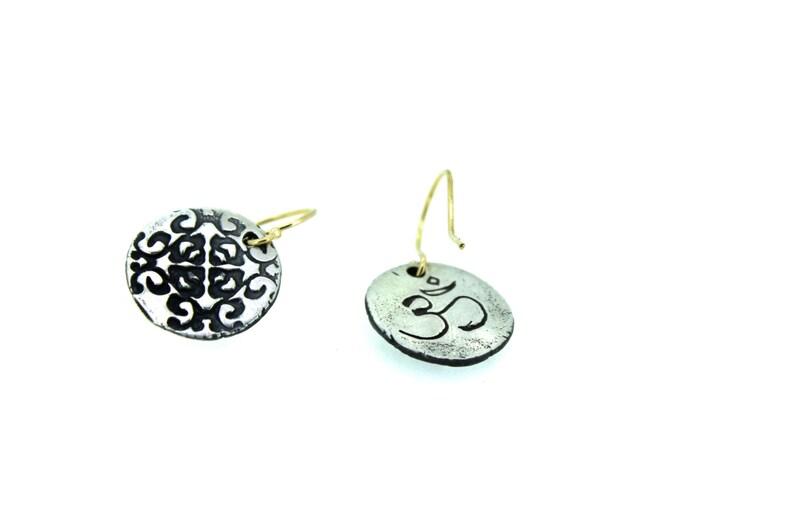 silver and gold dangle medallion earrings om earrings sterling silver earrings flower tudor rose earrings ready to ship