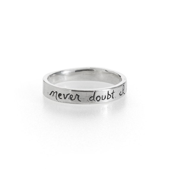 Silver Wedding Band With Handwritten Inscription Never Doubt Shakespeare Wedding Ring Engraved Message Ring Ready To Ship Size 6 7 8 9