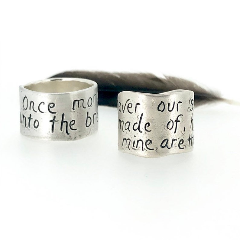 wide sterling silver once more unto the breach ring size 5 6 7 8 9 10 11 12 Shakespeare Winston Churchill quote ring by peacesofindigo