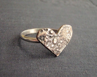love token ring . rustic bronze heart medallion, sterling band . custom made in your size