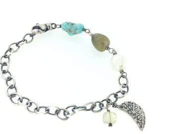 Boho turquoise bracelet . grey sapphire charm bracelet . sterling silver and pearl bracelet . Crescent moon charm bracelet peacesofindigo