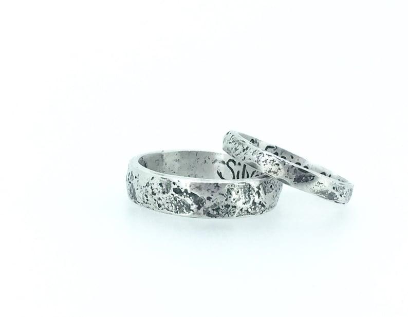 Custom Wedding Bands.Rustic Wedding Band Ring Set Custom Wedding Bands Rings With Inscription Personalized Recycled Silver River Rock Wedding Ring