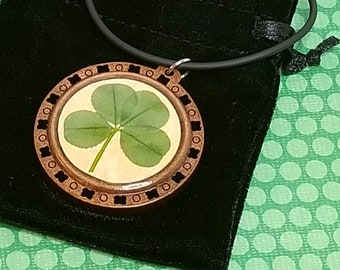 Lucky Four-Leaf Clover Preserved in Jewelry-grade Doming Resin, Natural Wood Pendant: Faith, Hope, Love and Luck