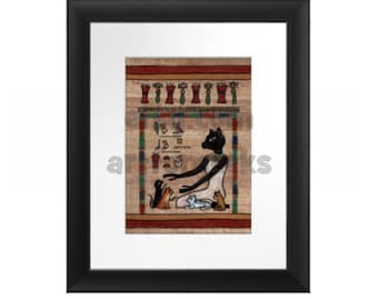 Cat Goddess Bast with her Kittens Print, Goddess of Joy and Protection from Contagious Diseases, Archival Matte or Framed and Ready to Hang