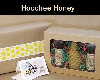Single Hive Beeswax Candle and Honey Sampler, Hoochee Honey, Reusable, BPA-free Squeeze Packs-- Extracted Raw, Unfiltered, and Unblended