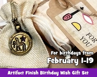 Aquarius Ancient Egyptian Birthday Wish Necklace Gift Set, Khnum releasing the Nile: Protection, Giver of Life, Artifact Bronze, February