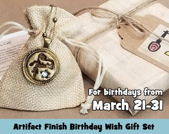 Aries Ancient Egyptian Birthday Wish Necklace Gift Set, The Newborn Calf: Abundance, Family, A Fresh Start, Artifact Bronze Finish, March