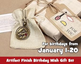 Capricorn Ancient Egyptian Birthday Wish Necklace Gift Set, The Sea-goat: Wisdom, Creation, Water, Artifact Bronze, January
