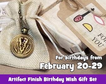 Pisces Ancient Egyptian Birthday Wish Necklace Gift Set, Sacred Fish of Hathor, Music, Joy and Swift Vengeance, Artifact Bronze, February