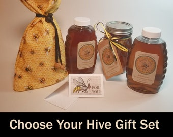 Hoochee Honey Choose Your Hive Gift Set, Reusable Cloth Gift Bag and Gift Card: Extracted Raw, Unfiltered, and Unblended