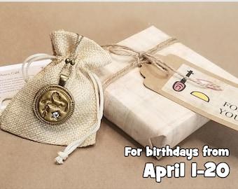 Aries Ancient Egyptian Birthday Wish Necklace Gift Set, The Newborn Calf: Abundance, Family, Fresh Start, Antique Bronze-Gilt Finish, April
