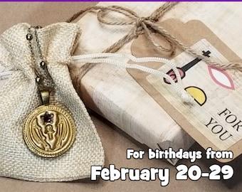 Pisces Ancient Egyptian Birthday Wish Necklace Gift Set, Sacred Fish of Hathor, Music, Joy & Swift Vengeance, Antique Bronze-Gilt, February
