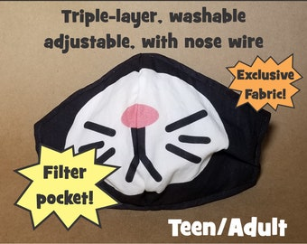 LAST ONE! Tuxedo Cat/Bunny Face Mask, Triple-Layer, Adjustable, Machine Wash, w/Nose Wire, Filter Pocket -- Gamer Teen/Adult Animal Costume
