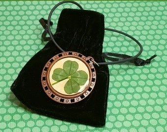 Lucky Four-Leaf Clover Pendant, Natural Wood: Faith, Hope, Love and Luck, Preserved in Jewelry-grade Doming Resin