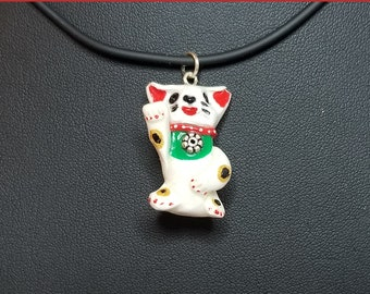 Deluxe Calico Maneki Neko Lucky Cat Necklace-- Hand-painted