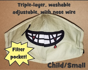 LAST ONE! Vampire Grin Cartoon Costume Mask, Triple-Layer, Adjustable, Machine Wash, with Nose Wire, Filter Pocket -- Child/Small, Ships Now