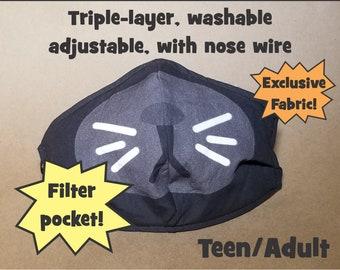 LAST ONE! Halloween Black Cat Mask, Triple-Layer, Adjustable, Machine Wash, w/Nose Wire, Filter Pocket -- Gamer Teen/Adult Animal Costume