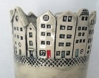 Wine Cooler Utensil Holder Planter Old World Skyline Pottery