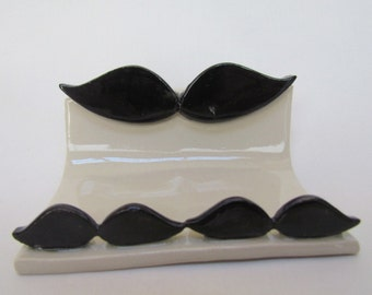 Business Card Holder Cell Phone Stand Mustache Handmade Pottery