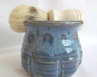 Shaving Mug, Soap, and Brush Set Blueberry Blue