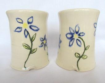 12 oz. Tumbler Drinking Glass Blue Flowers Set Handmade Pottery