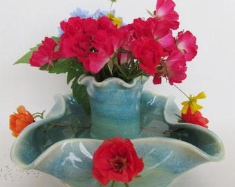 Pottery Vase Flower Frog Seafoam Green