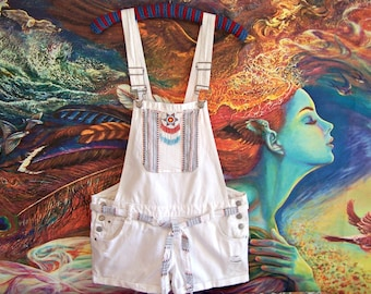 724aa87be3c Overalls Native American Beaded Embroidered Patched white L