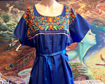 XL, Mexican, Blouse, Embroidered, Blue, Frida Kahlo, Cinco de Mayo, size XL