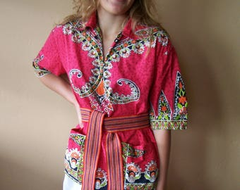 SALE, Thai Shirt, Thailand, Cotton, Top, Bohemian Traveler, size S / M