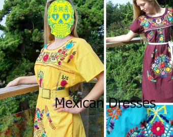 527a1a5e852 Plus size Mexican dress Yellow Embroidered Floral Cinco de Mayo 2X