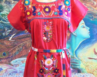 Mexican Dress, Embroidered, Red, Flowers, Cinco de Mayo, size M