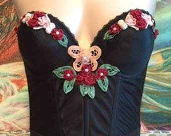 Corset Top, Embroidered, Mexican, Flowers, Cinco de Mayo, size S
