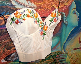 Corset Top, Embroidered Top, Mexican, Gypsy, Floral Top, choose size