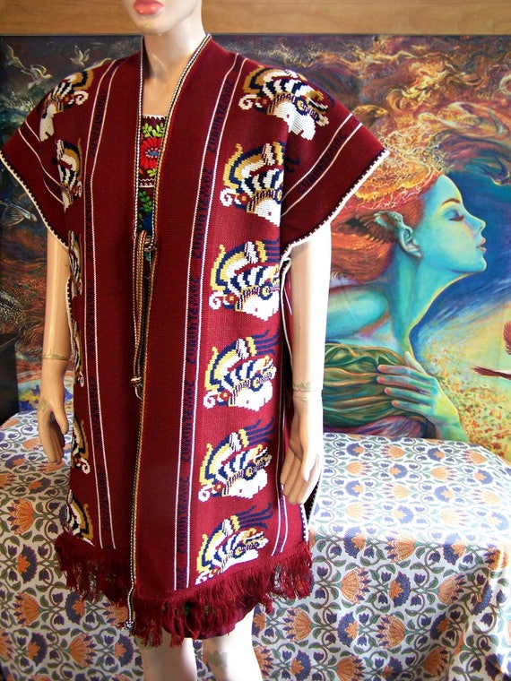 Mexican Serape Poncho Red Mayan Aztec Native Ameri