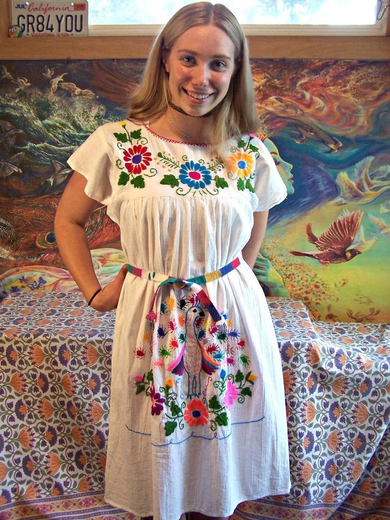 acd993b7a Mexican Dress White Embroidered Peacock Bird Frida Cinco de   Etsy