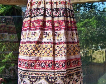 Tribal, Skirt, Boho, India, Elephant, Rayon, drawstring, skirt, osfm
