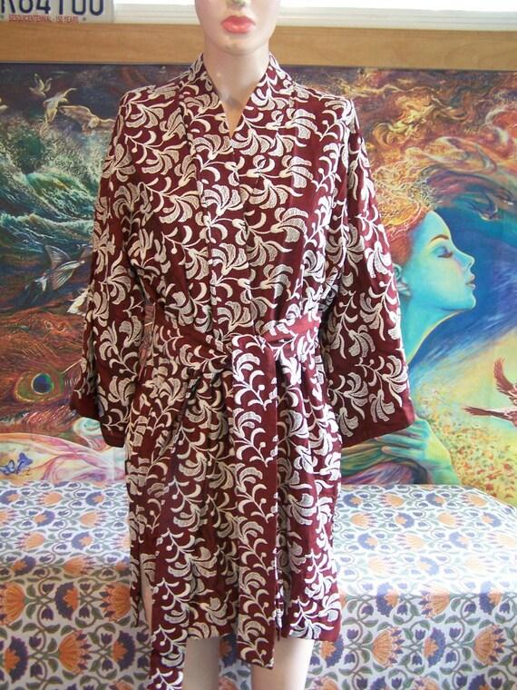 Embroidered Jacket Kimono Wrap Smoking Jacket size