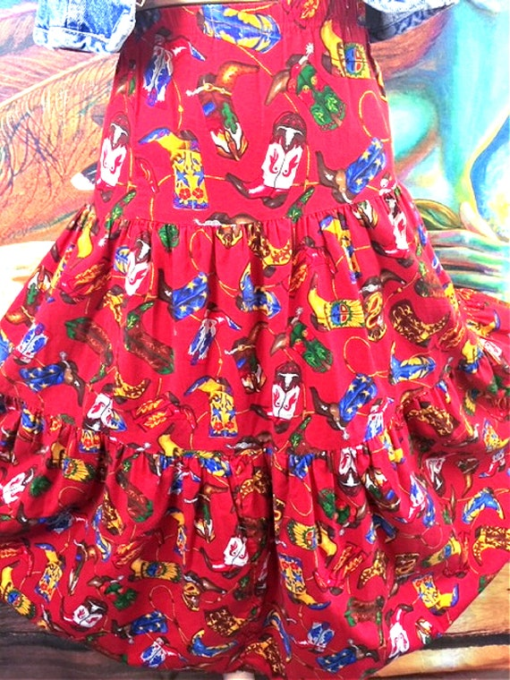 Western tiered skirt Red cotton cowboy boots cowgi