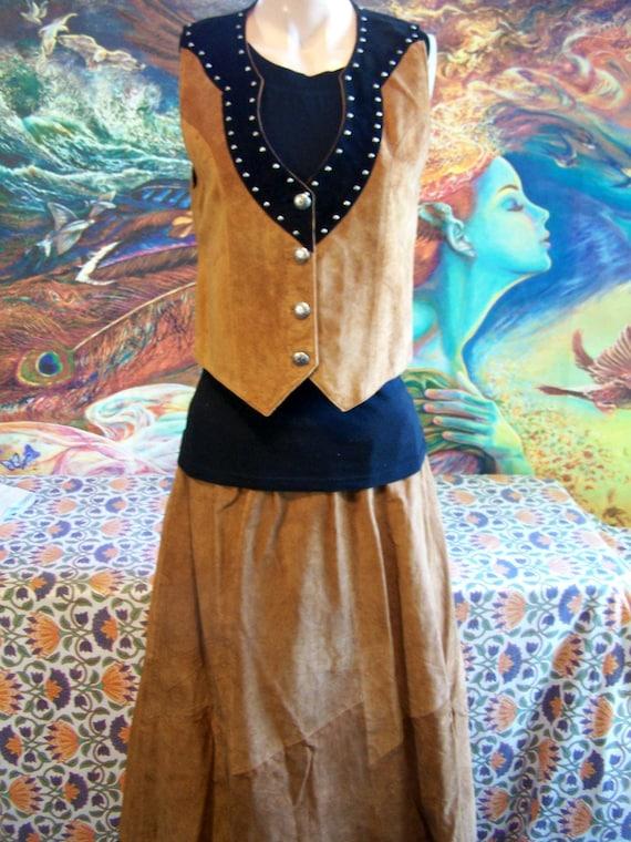 Vintage Suede skirt Western Long brown Leather ski