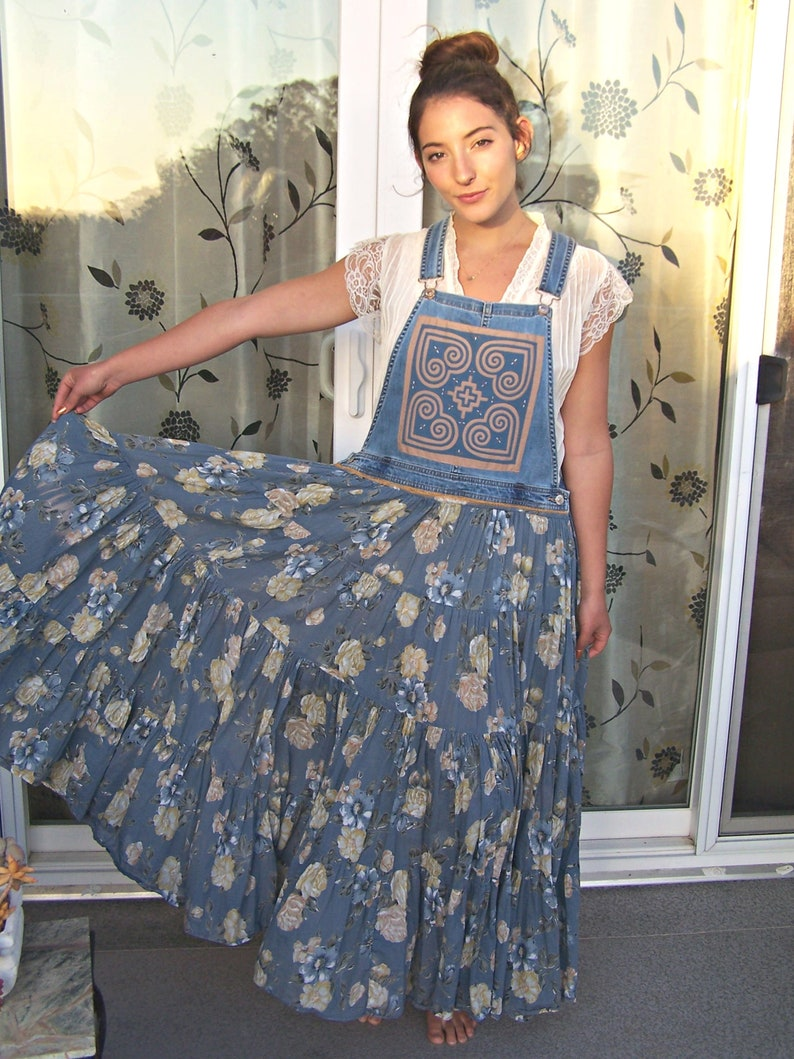 Overall Jumper Dress Blue floral patched mandala bibs upcycled clothing M