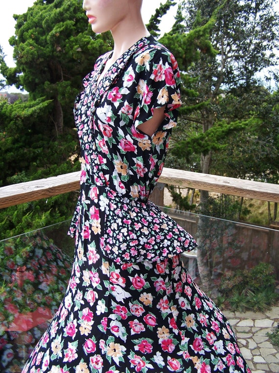 Black Floral Dress 80s Rayon Peplum maxi Garden Pa