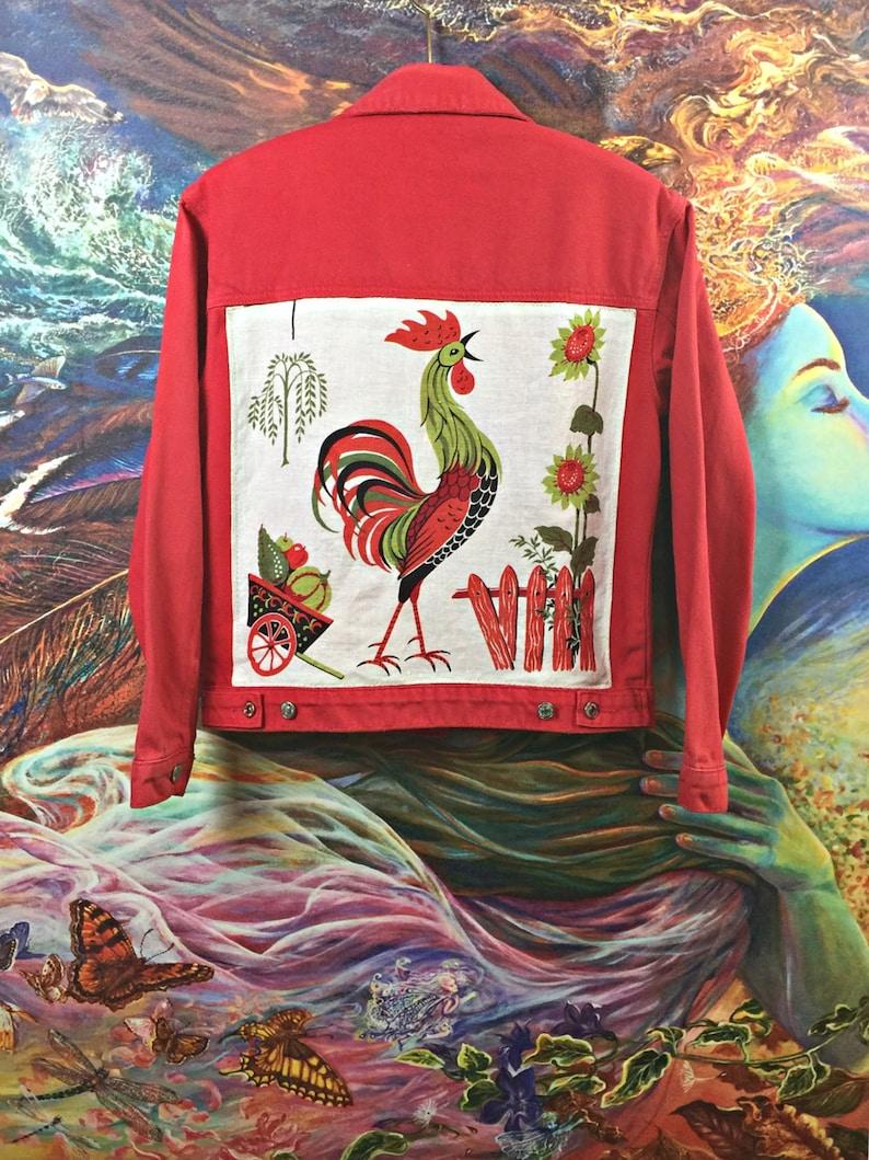 Denim Jacket Vintage Rooster ooak art wear upcycled clothing Farmhouse Steader women L